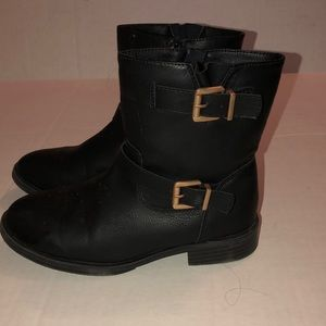Girls black motorcycle boots